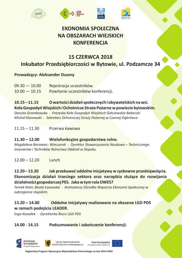 """Konferencja """"Ekonomia spo³eczna na obszarach wiejskich"""" - 15.06.2018 godz. 10.00"""