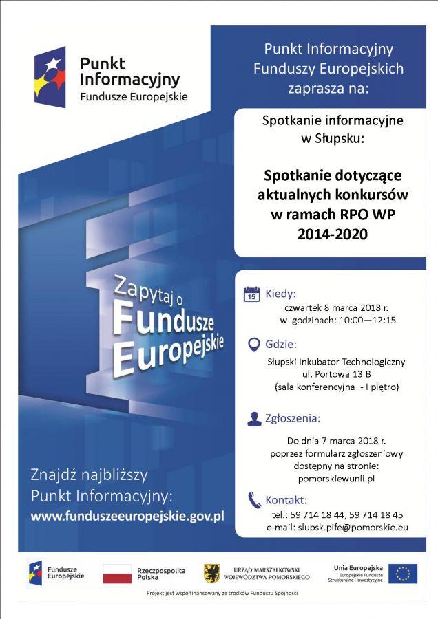 Spotkanie informacyjne dotycz±ce aktualnych konkursów w ramach Regionalnego Programu Operacyjnego Województwa Pomorskiego na lata 2014-2020