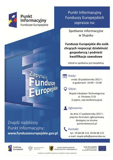 Fundusze Europejskie dla osób chc±cych rozpocz±æ dzia³alno¶æ gospodarcz± i podnie¶æ kwalifikacje zawodowe