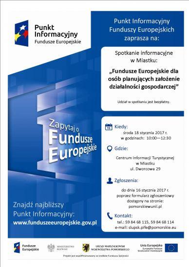 """Spotkanie informacyjne w Miastku: """"Fundusze Europejskie dla osób planuj±cych za³o¿enie dzia³alno¶ci gospodarczej""""."""