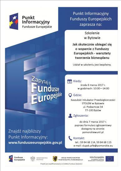 """Szkolenie """"Jak skutecznie ubiegaæ siê o wsparcie z Funduszy Europejskich - warsztaty tworzenia biznesplanu"""""""