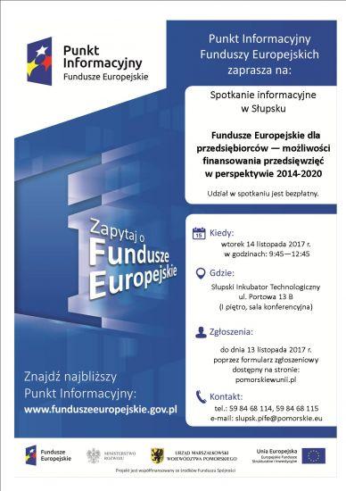 Lokalny Punkt Informacyjny Funduszy Europejskich zaprasza na spotkanie 14.11.2017