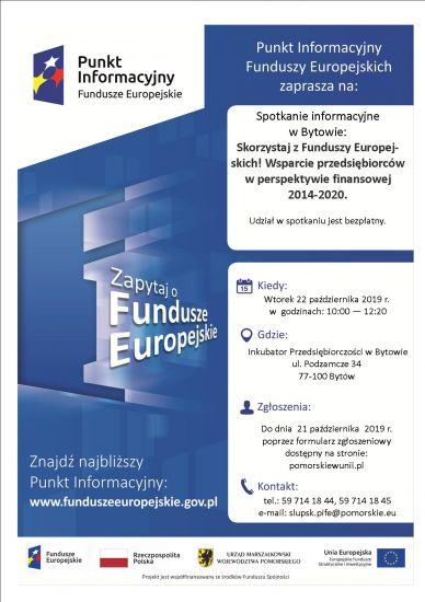 """Bezp³atne spotkanie informacyjne """"Skorzystaj z Funduszy Europejskich! Wsparcie przedsiêbiorców w perspektywie finansowej 2014-2020"""""""