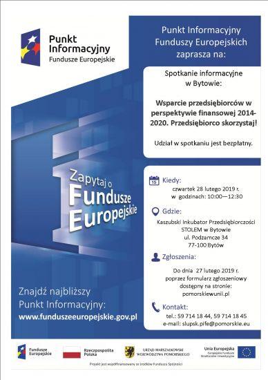 Spotkanie informacyjne dotycz±ce mo¿liwo¶ci pozyskania przez przedsiêbiorców wsparcia na rozwój w ramach Funduszy Europejskich.