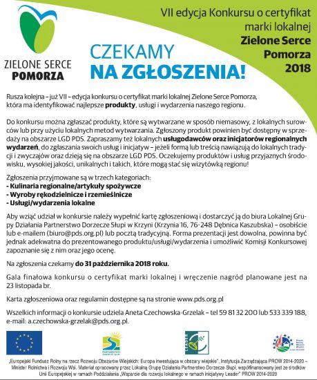 Ruszy³a VII edycja konkursu o certyfikat marki lokalnej Zielone Serce Pomorza 2018