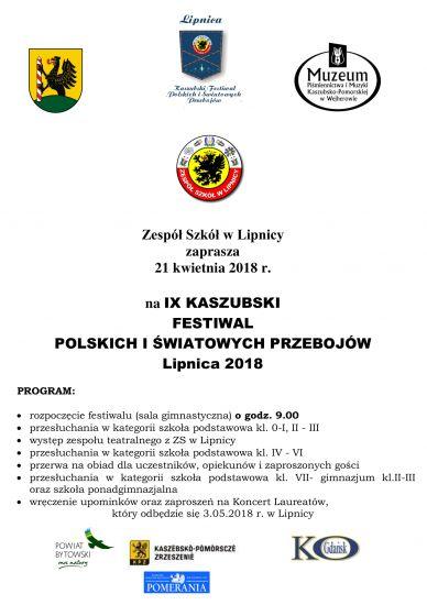 IX Kaszubski Festiwal polskich i ¶wiatowych przebojów Lipnica 2018