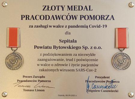Z³oty medal dla szpitala Powiatu Bytowskiego